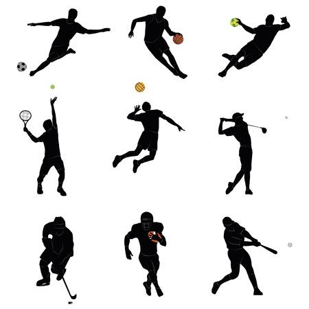 いくつかのスポーツについての 9 つのアイコンのセット  イラスト・ベクター素材