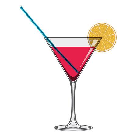 白い背景のわらとオレンジ スライスとカクテル グラス