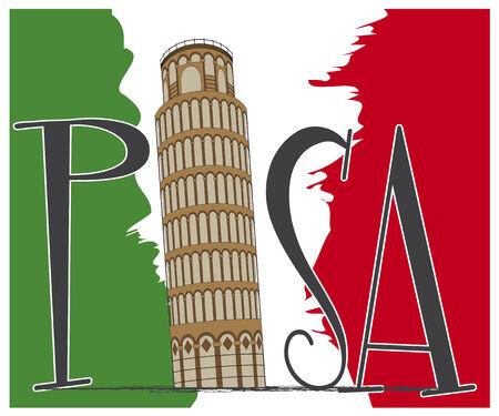 イタリアの国旗とピサのテキストの上のピサの斜塔