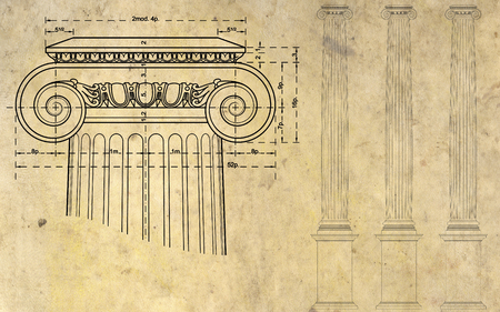 doric: detail of ionic column and three columns on background of ancient paper
