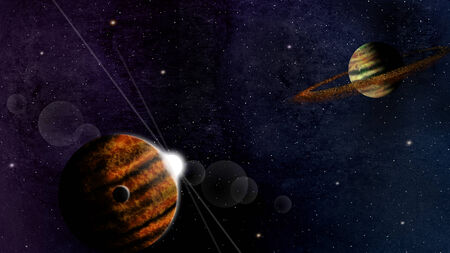 space background with planets and some stars photo