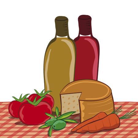 テーブル クロスに地中海の食品の静物