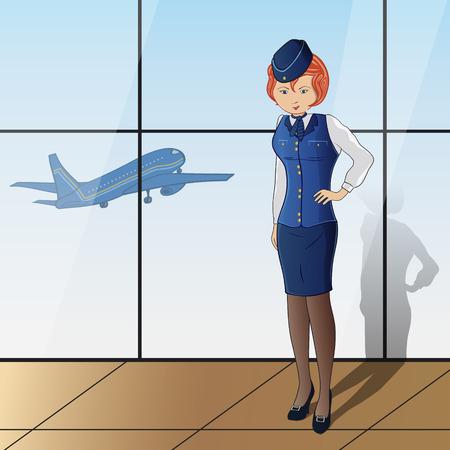 ブルー スチュワーデス制服の背景にガラス、平面上で