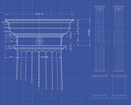 With detail of doric column Measures on technical background Illustration