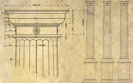 ancient paper: detail of ionic column and three columns on background of ancient paper