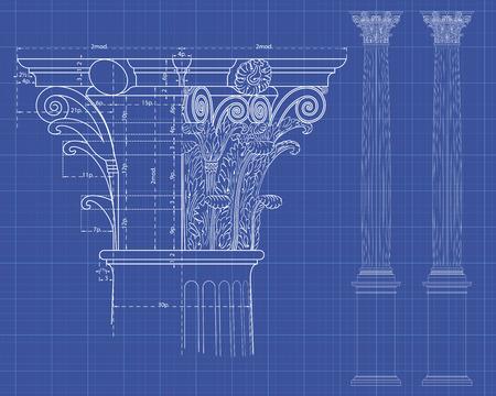 columna corintia: Con detalle de Medidas de columnas corintias sobre antecedentes t�cnicos Vectores