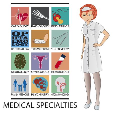 看護師と白い背景の上の医療専門アイコン