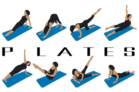 pilates: set of eight silhouettes of different pilates postures
