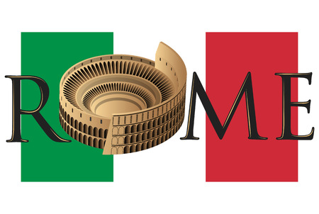 roman colosseum over flag of italy and text of rome