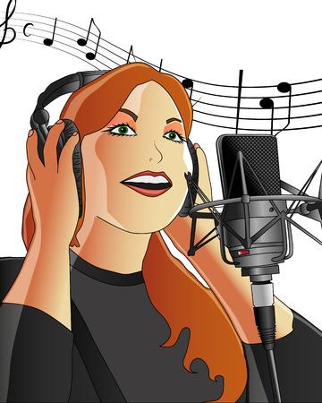 レコーディング スタジオで歌っている女の子  イラスト・ベクター素材