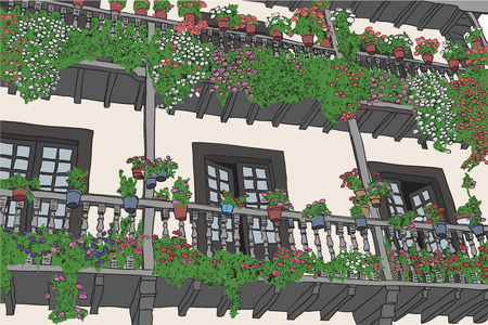 balcony with flowers in a village in northern Spain Vector Illustration