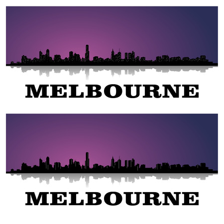 set of two silhouettes of melbourne \ 's skyline 矢量图像