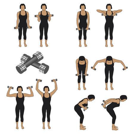 set of ten silhouettes of different positions with weights 矢量图像