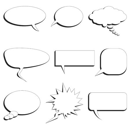 set of nine speech bubbles on white background 矢量图像