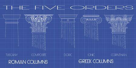columnas romanas: columnas griegas y romanas de los cinco �rdenes en el fondo Tecnic