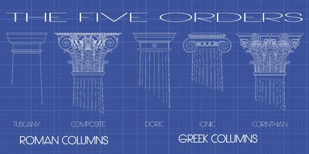 old pc: greek and roman columns of the five orders on tecnic background
