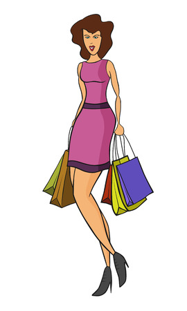 woman shopping at sales season with some bags