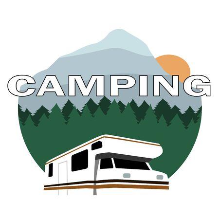 本文のキャンプで風景の背景の上のキャンピングカー  イラスト・ベクター素材