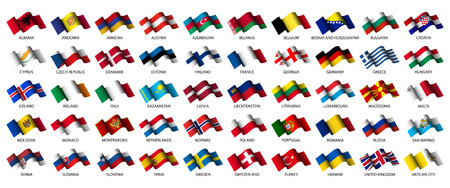 european flags: set of all european flags on white background Illustration