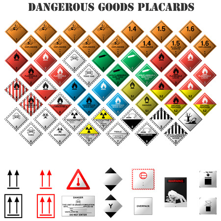 flammable warning: set of dangerous goods placards on white background
