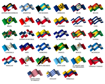republic of ecuador: set of all american flags on white background