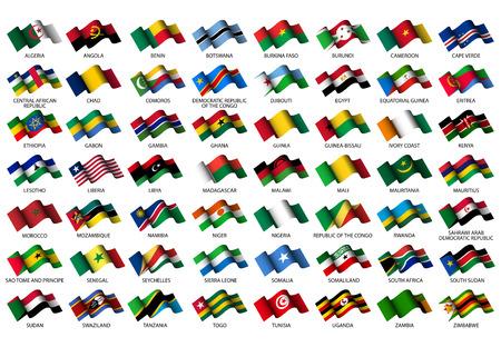 白い背景の上のすべてのアフリカのフラグのセット  イラスト・ベクター素材