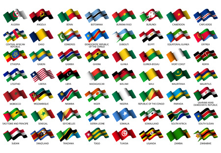 set of all African flags on white background