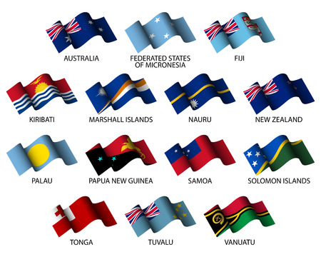 oceania: oceania set of all flags on white background Illustration