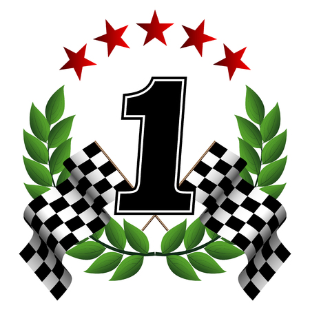 symbol of victory with 2 checkered flags and laurel wreath 矢量图像