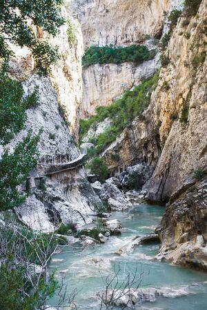 spanish village: path of gangways of a spanish village