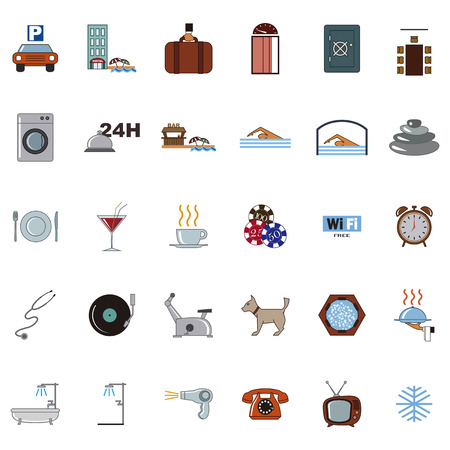parking disk: retro set of isolated vector icons hotel
