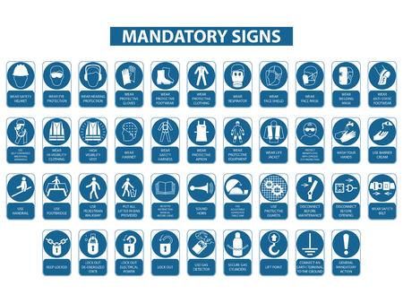 set of mandatory signs on white background