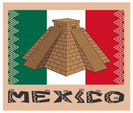 フラグとメキシコのテキストの上のピラミッドします。