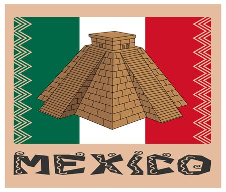 pyramid over flag and text of mexico