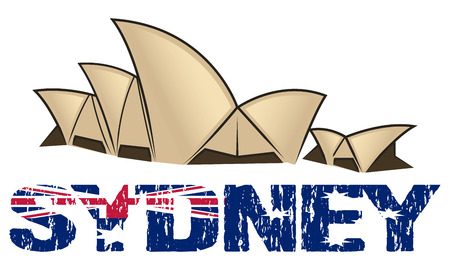 Sydney Opera House over and text with Australian flag