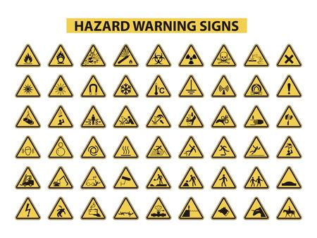 白い背景の上の危険警告標識のセット