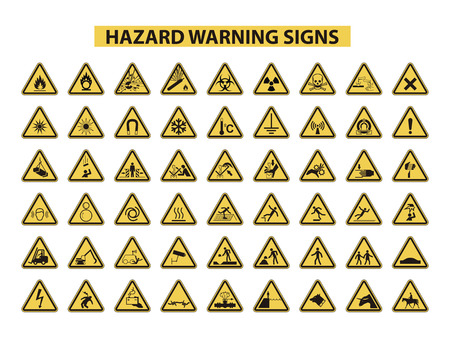 set of hazard warning signs on white background