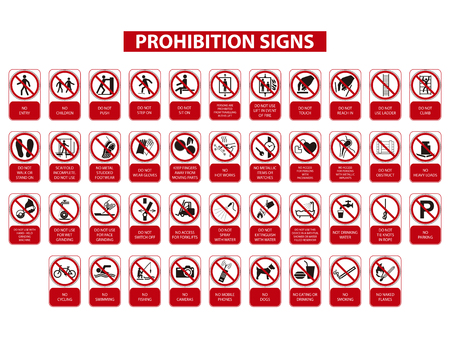 set of prohibition signs on white background