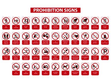 set di segnali di divieto su sfondo bianco