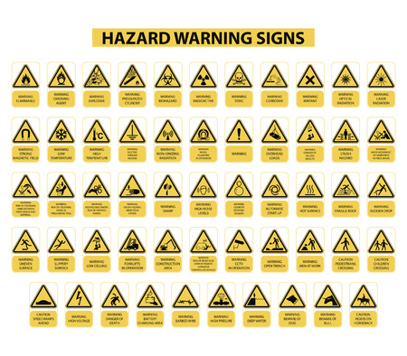 set of hazard warning signs on white background Imagens - 52039234