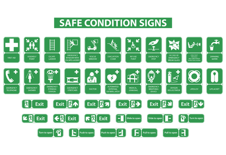 set of safe condition signs on white background