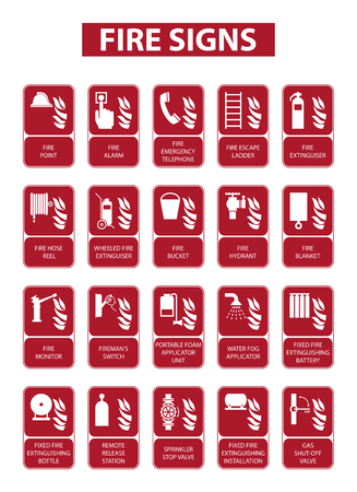 fire extinguisher sign: set of fire signs on white background Illustration