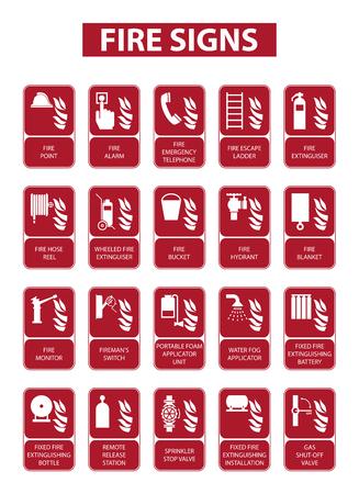 Set von Feuerzeichen auf weißem Hintergrund Standard-Bild - 53234148