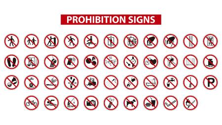 흰색 배경에 금지 표지판의 집합