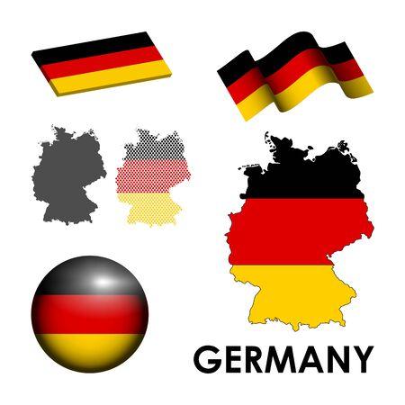 ドイツは、白い背景の上のアイコンのセット  イラスト・ベクター素材