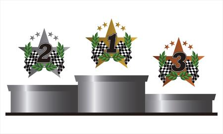 金、銀、青銅のシンボルで表彰台