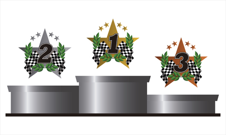podium with golden, silver and bronze symbols