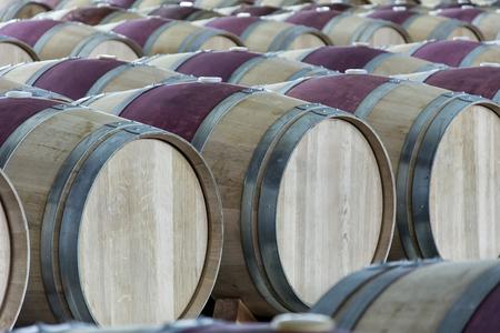 セラーでワイン樽のセット
