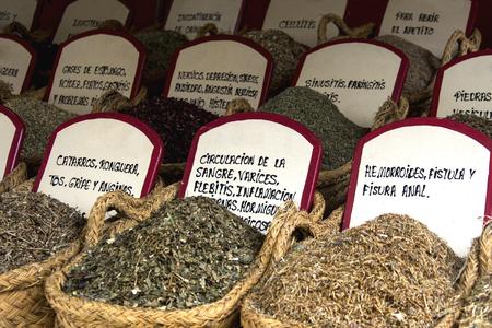 スペイン北部の市場で薬効があるハーブ