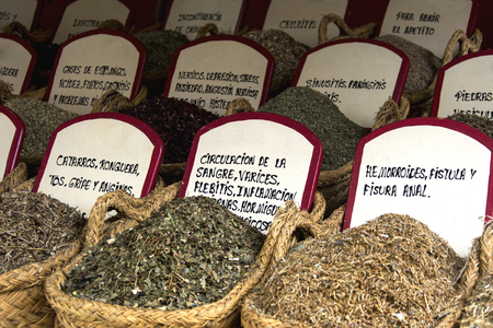 medicinal herbs in a market in northern Spain